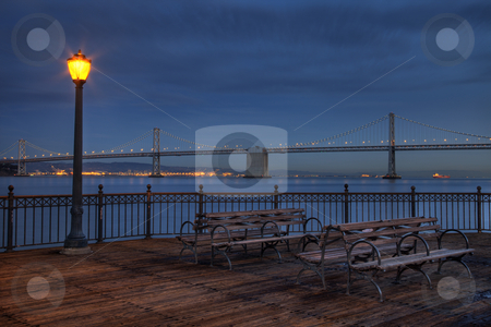 San Francisco at night - Bay Bridge stock photo, San Francisco at night - Bay Bridge and harbour from Pier 7 by Marek Uliasz