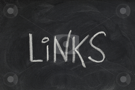 Links headline on blackboard stock photo, Links - white chalk handwriting on blackboard with eraser patterns and texture by Marek Uliasz