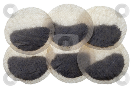 Round tea bags stock photo, Background of six paper round tea bags isolated on white by Marek Uliasz