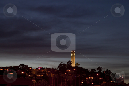 Night time skyline of San Francisco with Coit Tower stock photo, Art deco reinforced concrete Coit Tower and Telegraph Hill in San Francisco - night time skyline by Marek Uliasz