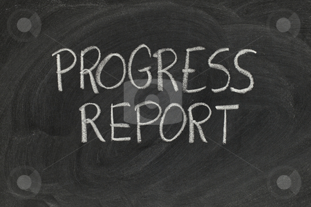 Progress report stock photo, Progress report headline handwritten with white chalk on blackboard with eraser smudges by Marek Uliasz