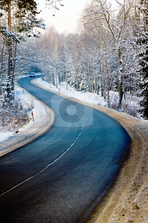 Forest road in winter stock photo, Road in Masuria, forest in winter and distant car by Plrang 