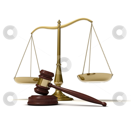 Scales justice gavel stock photo, Scales of justice with judge's gavel, isolated on white background by Martin Ivask