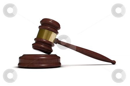 Judge's gavel stock photo, Classic wooden judge's gavel, isolated on white background by Martin Ivask