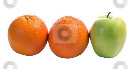 Different stock photo, Three pieces of fruit with one being different, isolated against a white background by Richard Nelson