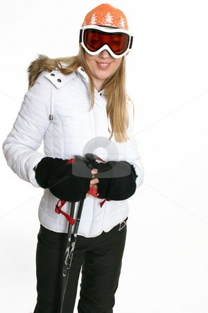 Female in ski clothing stock photo, Female in recreational ski gear by Leah-Anne Thompson