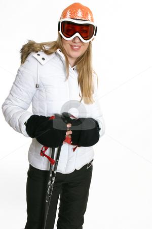 Female in ski clothing stock photo, Female in recreational ski gear by Leah-Anne Thompson