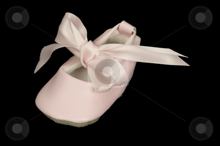 Baby Ballet Shoe stock photo, Pink baby ballet shoe photographed against a black background for isolation purposes. by Inge Schepers
