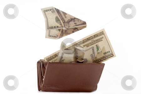 Happy purse stock photo, Purse with denominations of dollar on a white background. by Sergey Goruppa