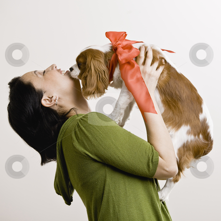 Adult Woman with Puppy stock photo, Adult female holding puppy who has a ribbon tied around its neck. Square format. by Jonathan Ross
