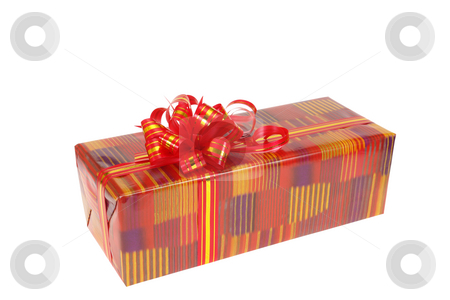 Gift box stock photo, Gift box isolated on the white background by Salauyou Yury