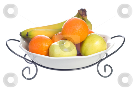 Fruit Bowl stock photo, A platter of fruit consisting of oranges, bananas and apples, isolated against a white background by Richard Nelson