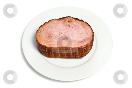 Spiced Ham stock photo, A cooked ham on a white plate with spices on top, isolated by Richard Nelson