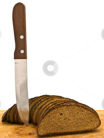 Bread and knife stock photo, Photo of the slice bread and  knife at wooden broad against white background by Sergej Razvodovskij