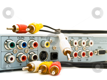 Back panel stock photo, Back panel of dvd player with different jacks by Sergej Razvodovskij