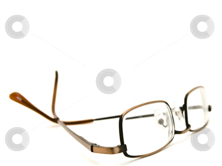 Modern glasses stock photo, Modern glasses in metallic frame over the white background by Sergej Razvodovskij