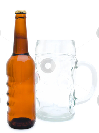 Beer stock photo, Single bottle of the beer and glass against the white background by Sergej Razvodovskij