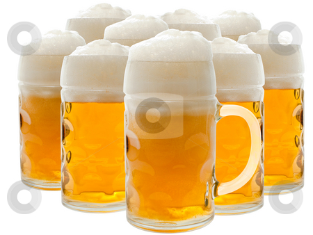 Beer stock photo, Lots of beer glasses with foamy beer by Sergej Razvodovskij