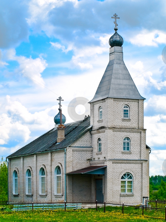 Church stock photo, Photo of the bricks church at the country landscape by Sergej Razvodovskij