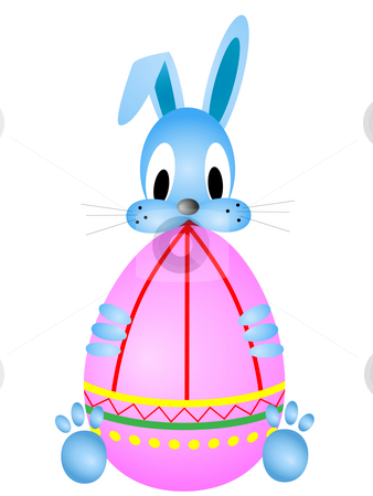 Easter funny rabbit stock photo, Easter funny rabbit holding coloring egg against the white background by Sergej Razvodovskij