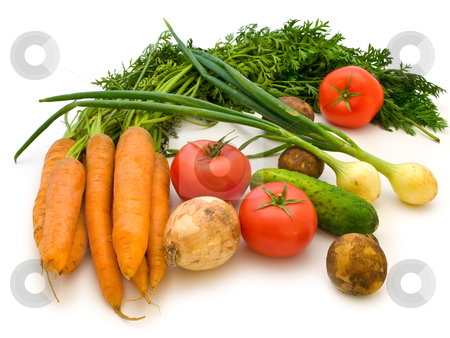 Vegetables stock photo, The various vegetables over the white background by Sergej Razvodovskij