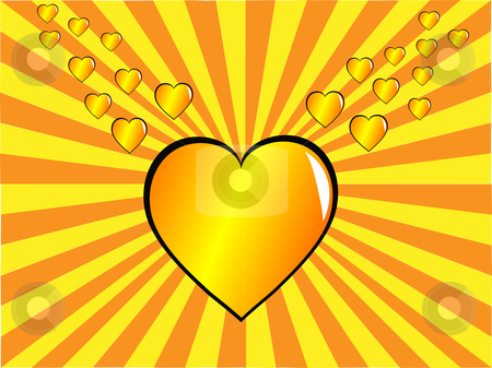 A valentines day illustration with a gold heart on a sunburst ba stock vector clipart, A valentines day illustration with a gold heart on a sunburst backdrop by Mike Price