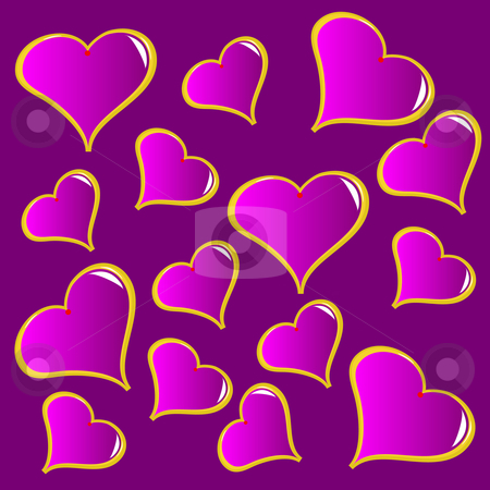 An abstract purple vector valentines background stock vector clipart, An abstract purple vector valentines background with a series of red hearts on a red background by Mike Price