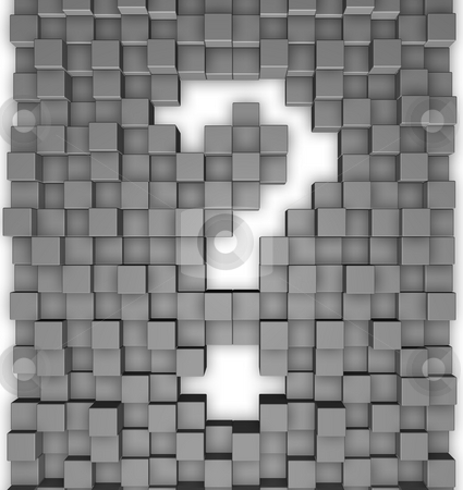 Question mark stock photo, Question mark cubes background - 3d illustration by J?