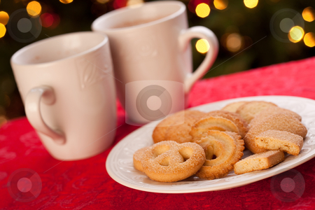 Hot Chocolate and Cookies stock photo, Hot Chocolate and Cookies in Front of Holiday Lights. by Andy Dean