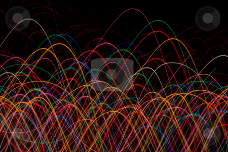 Lightwaves stock photo, Log exposure photo of coloured lights in motion by Stephen Gibson