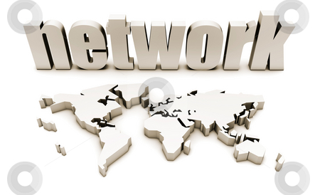 Global Network stock photo, Global Network in 3d with World Map by Kheng Ho Toh