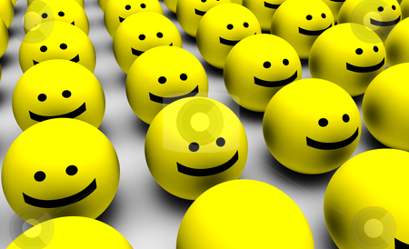Smiley Faces Background stock photo, 3D Round Smiley Faces as Background Abstract by Kheng Ho Toh