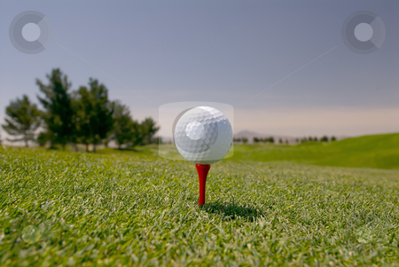 White Golf Ball on Tee stock photo, Image of a white golf ball on a red tee by Greg Blomberg