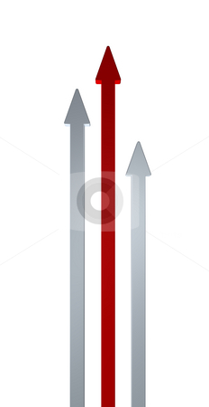 Up stock photo, Three arrows on white background - 3d illustration by J?