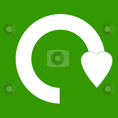Love recycling stock photo, Love recycling symbol with heart, isolated on green background. by Martin Crowdy