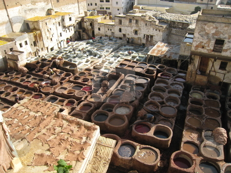 Tanneries in Fez stock photo, Tanneries in Fez by Johnny Griffin