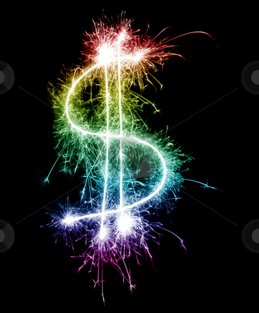 Gay Spending Power stock photo, A sparkling rainbow dollar symbol, concept of the Dorothy dollar by Stephen Gibson