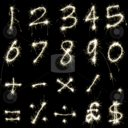 Sparking Numbers stock photo, Numeric characters and symbols composed of sparkler trails by Stephen Gibson