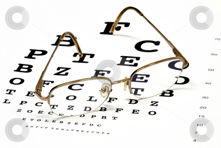 Eye chart  stock photo, An eye chart with eyeglasses. by Stephen VanHorn