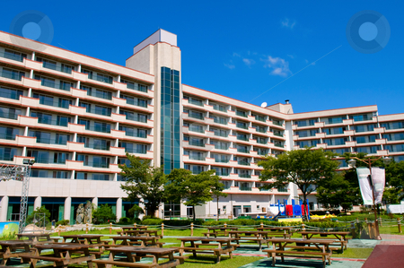 Resort and hotel stock photo, The view of resort and hotel buildings by Tito Wong
