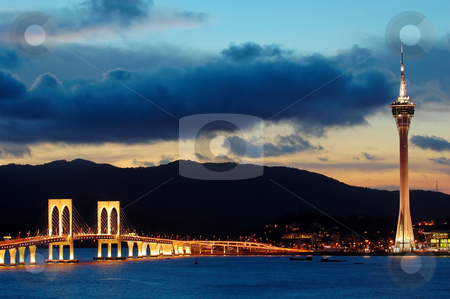 Evening of Macau tower convention and bridges stock photo, The evening of Macau city from Taipa island by Tito Wong
