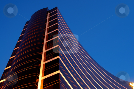 Night of commercial building stock photo, The night scene of commercial building over blue sky by Tito Wong