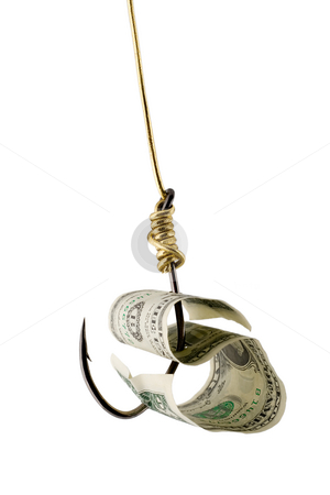 Dollar bait stock photo, Dollar bait on hook golden thread isolated on white background by Vladyslav Danilin