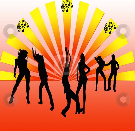 Dance Party stock photo, Colorfull dance party illustration with teens dancing to the beat by CHERYL LAFOND