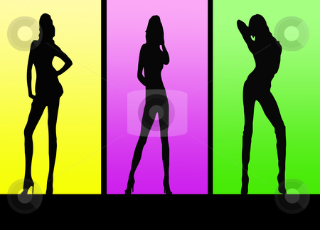 Colorful Sexy girls stock photo, Colorful posing sexy ladies illustration great for background etc by CHERYL LAFOND