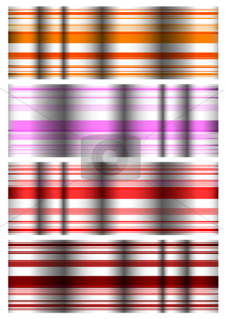 Ripple band stock vector clipart, Four colored ribbon bands with variations on red theme by Michael Travers