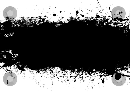Black splat band stock vector clipart, Ink black splat banner with room to add your own copy by Michael Travers