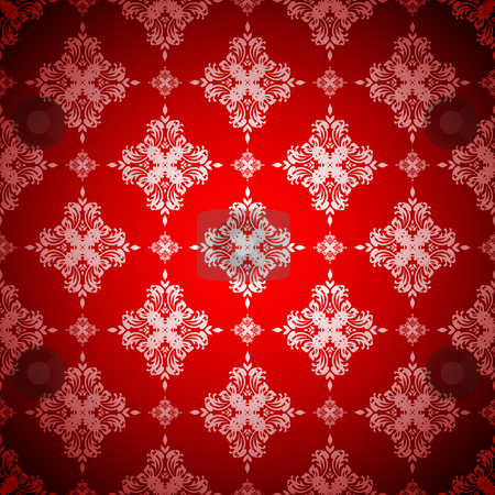 Hot red wallpaper silver stock vector clipart, Red and silver seamless wallpaper design with floral pattern by Michael Travers