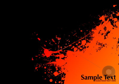 Orange grunge sun stock vector clipart, Orange and black ink splat grunge background with copyspace by Michael Travers