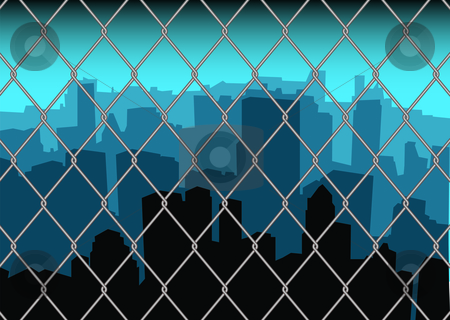 City behind fence stock vector clipart, City scape skyline behind a metal fence with blue sky by Michael Travers